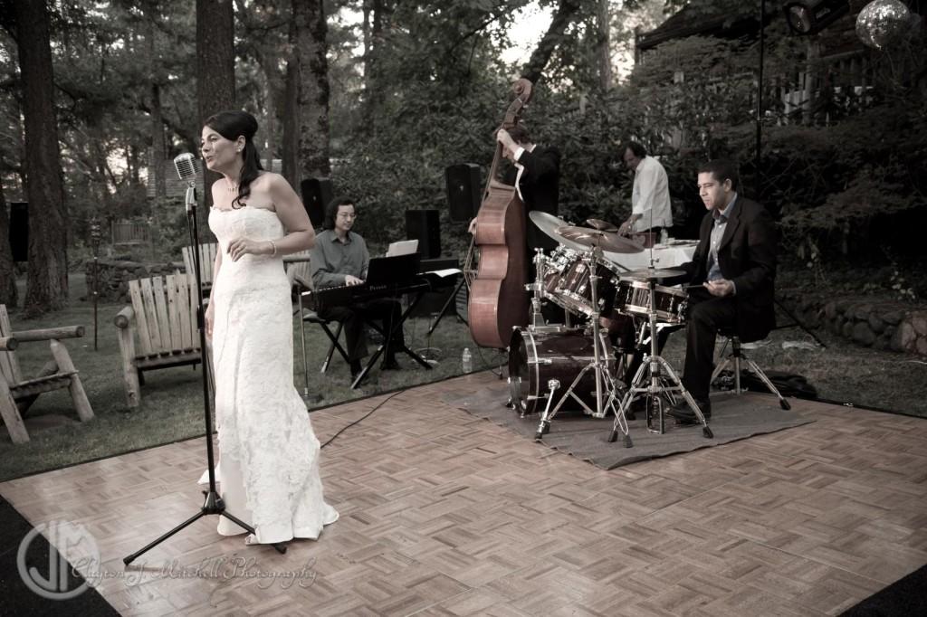 bride singing at Weasku Inn