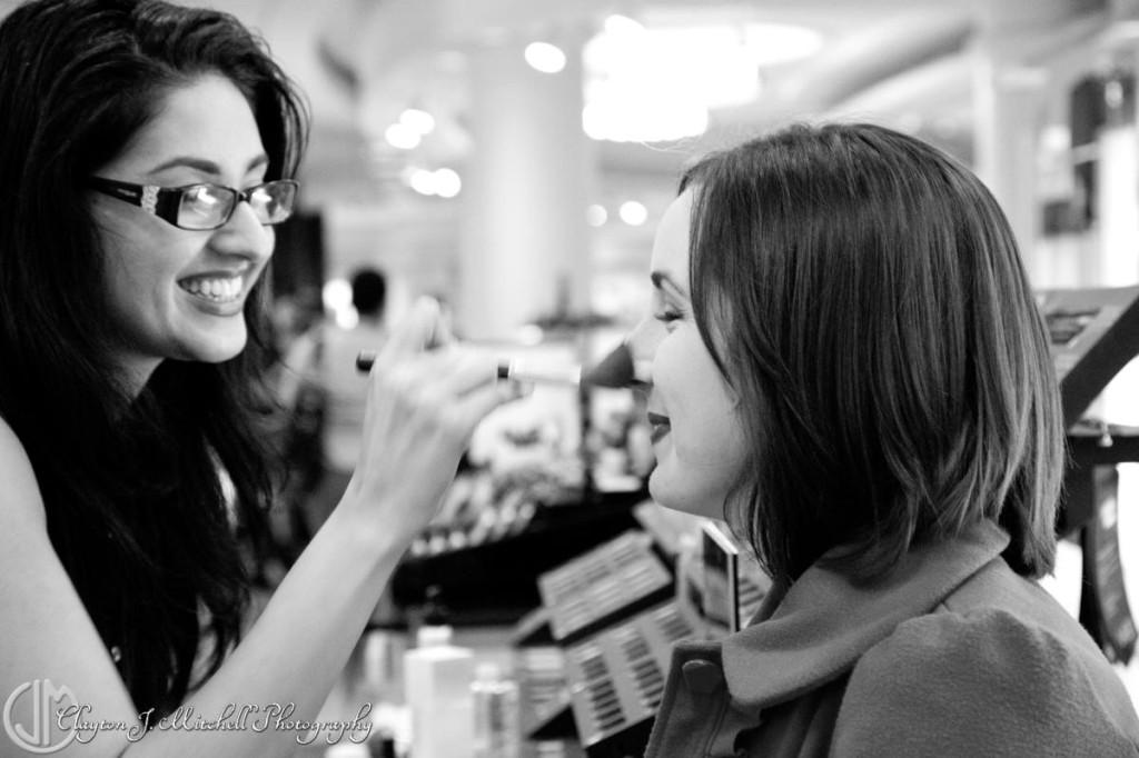 getting makeup done at Bloomingdale's