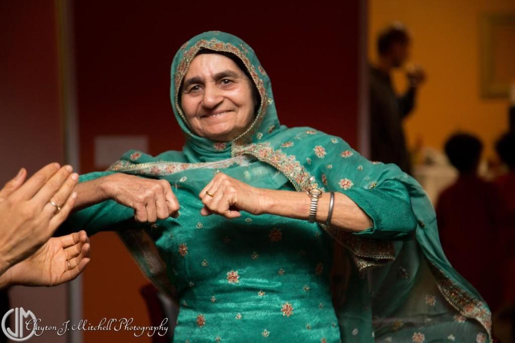 grandmother dancing at Diwali celebration