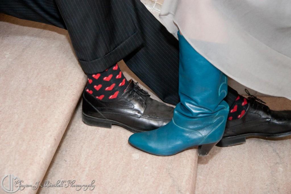 Fun Wedding Footwear Heart Socks Teal Boots