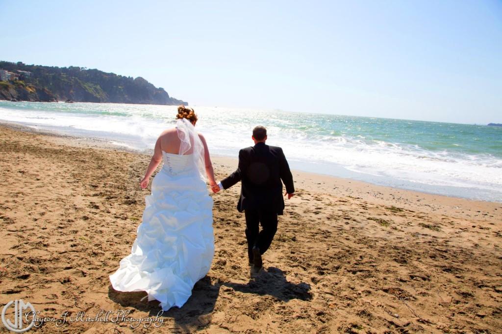 Bride and Groom on Baker Beach San Francisco