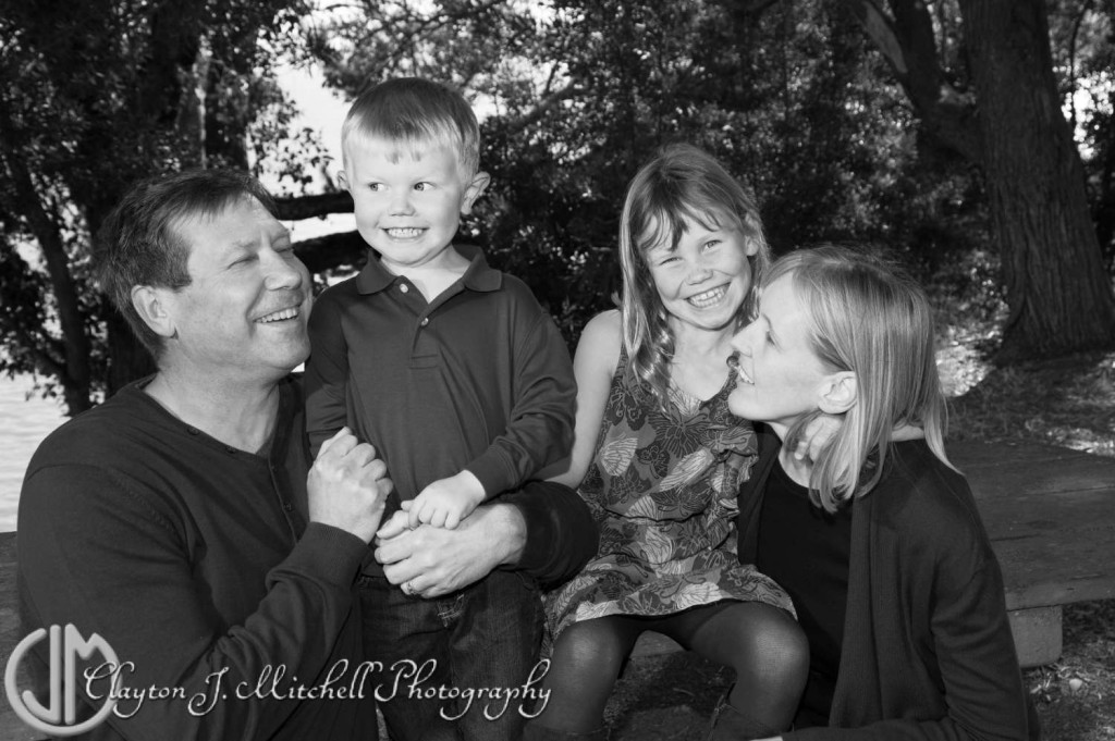 Quirky Black and White Family Portrait