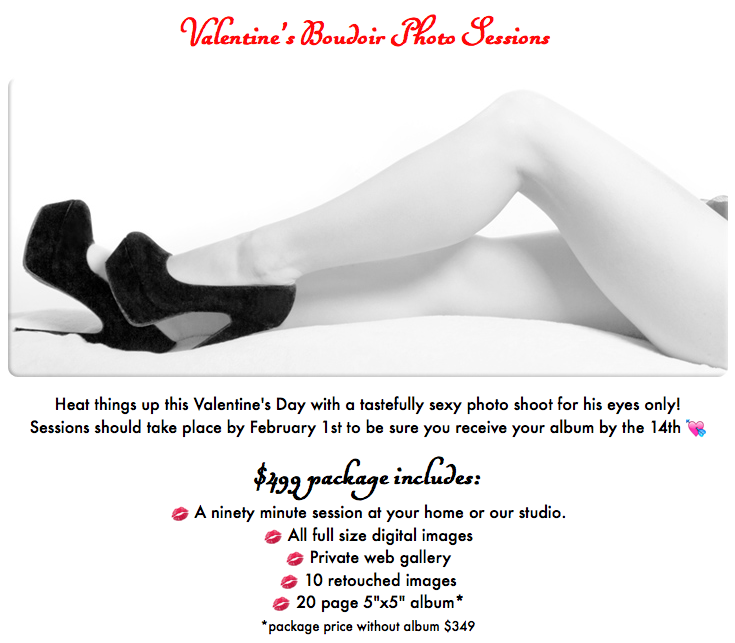 boudoir photography specials