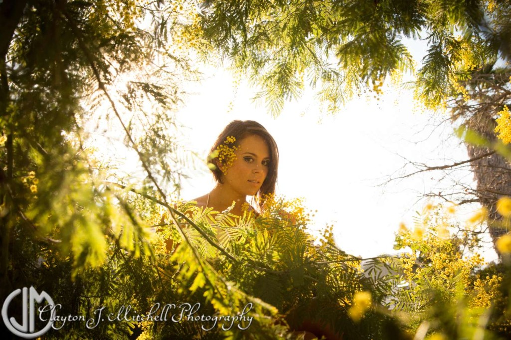 Model in golden light with acacia branches