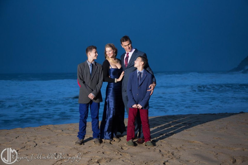 family portrait on the beach