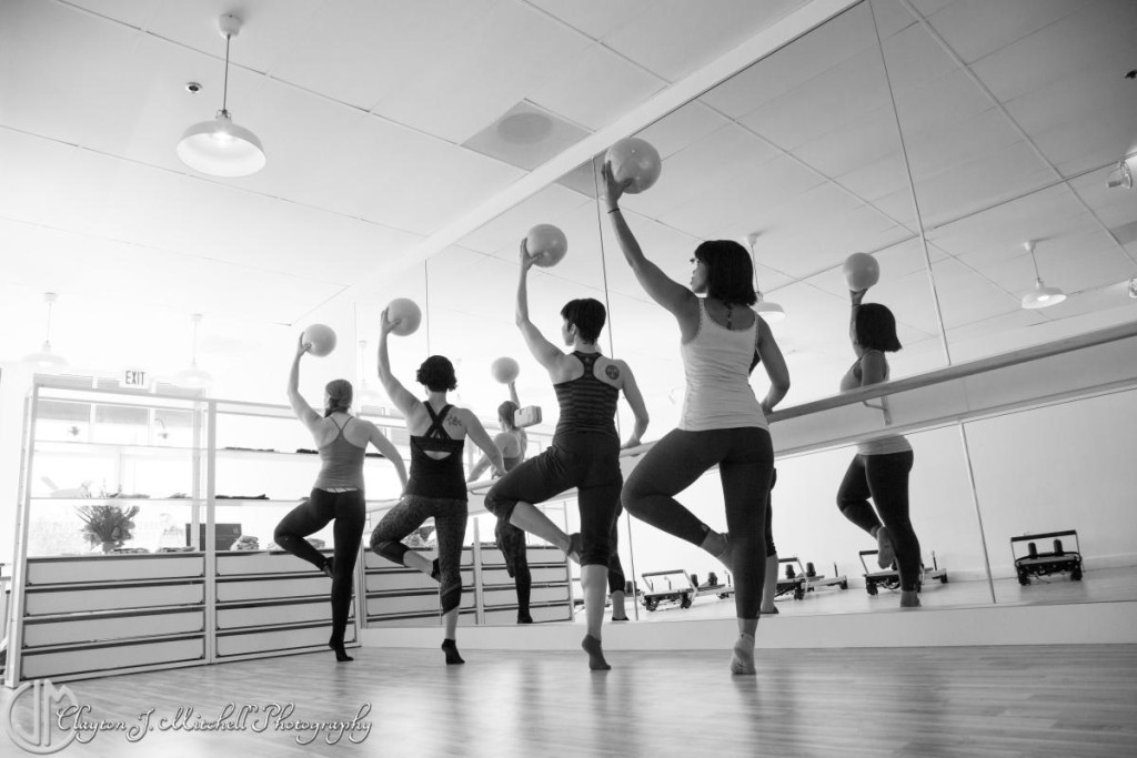 black and white photo of barre class