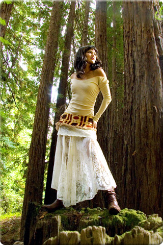 Model in redwood forest