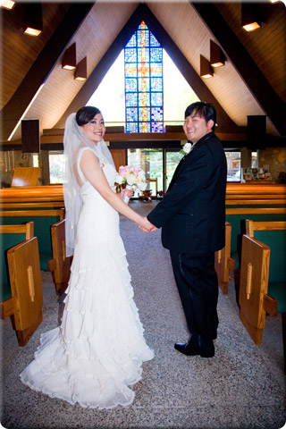 Holding hands in the church