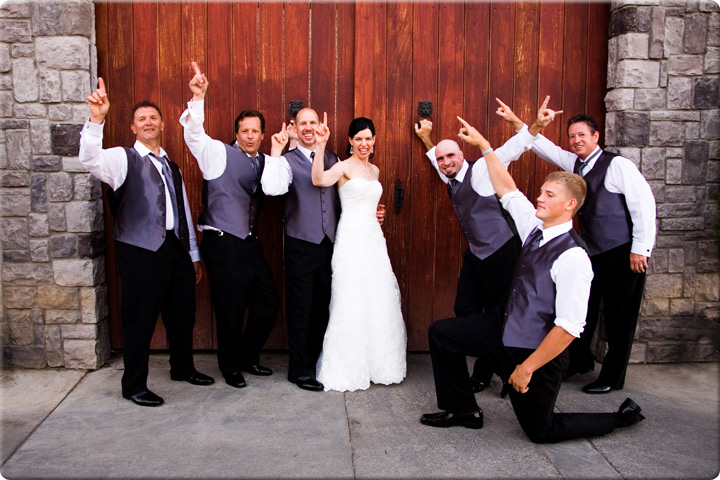 Bride with all of the boys