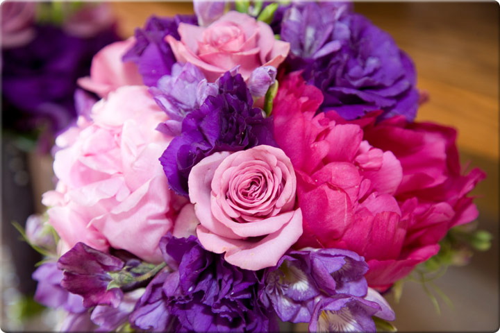 Pink purple and red roses